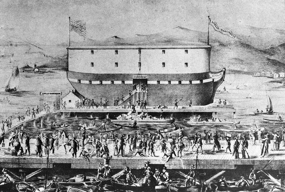 Store-ship Apollo at the San Francisco harbor in 1850. Those were the bawdy days of the Barbary Coast and when many of these men ended up on Maiden Lane. Photo by Ullstein Bild via Getty Images.