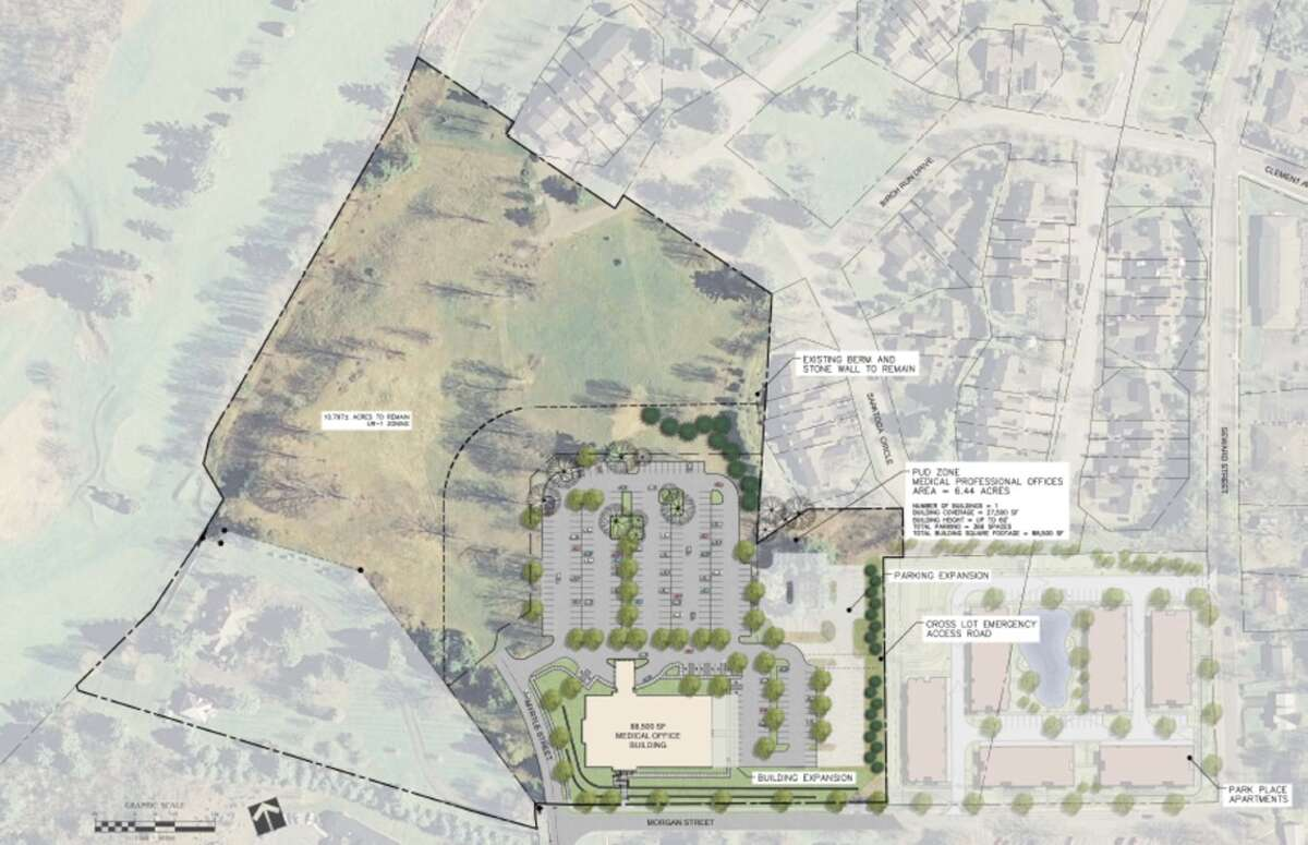 Map shows parcel where Saratoga Hospital wants to build an at least 75,000-square-foot medical office building. (Provided by Matthew Jones)