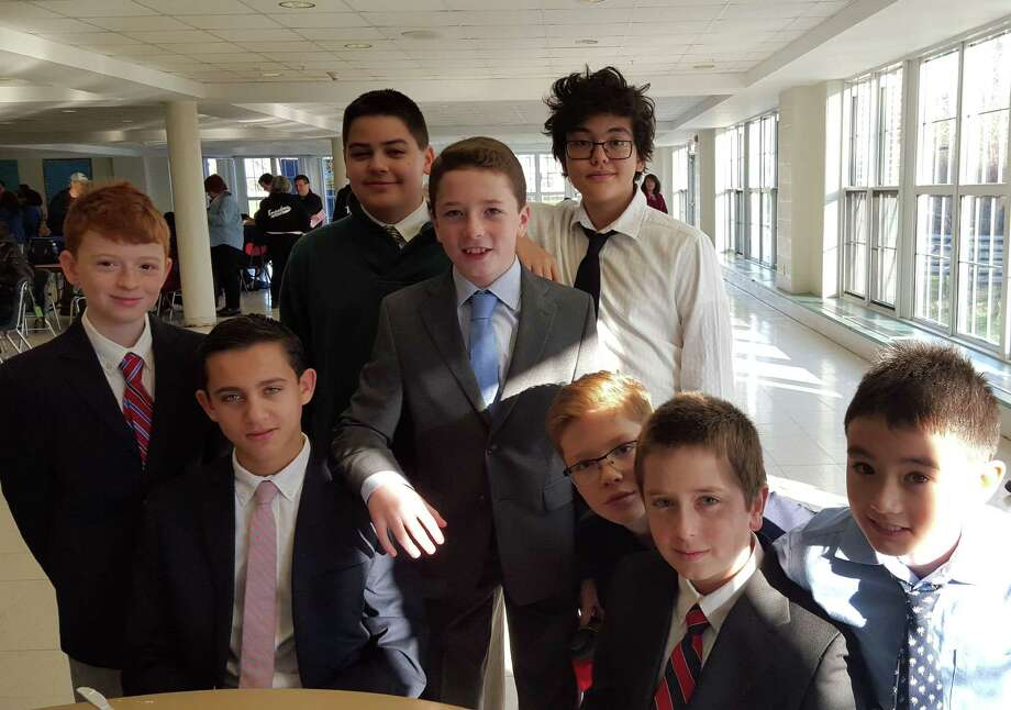 Western Middle School's quiz bowl players. Seated, left to right: Lucas Gazianis, John Fredette, Toby Hirsch and Brandon Yu. Standing, left to right: John Trudeau, Spencer Macri, Dylan Maloney and Ryan LaPietra. Photo: Contributed Photo