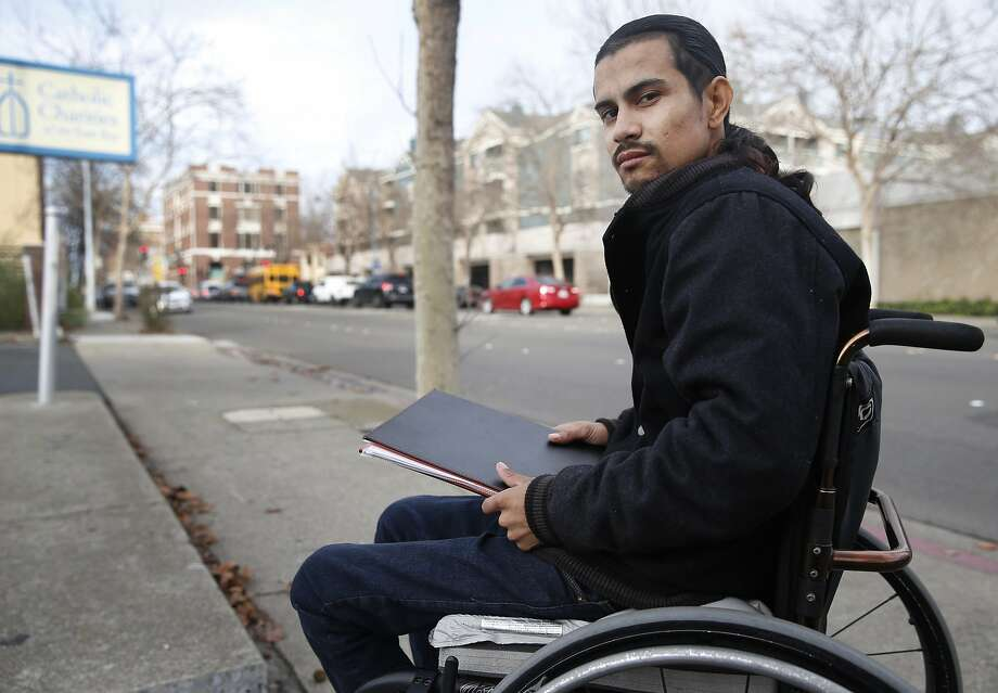 Javier Arango is seen in Richmond, Calif. on Friday, Dec. 11, 2015. Arango, who was paralyzed in a drive-by shooting incident in 2006, is now a youth counselor and mentor for Catholic Charities of the East Bay. Photo: Paul Chinn, The Chronicle