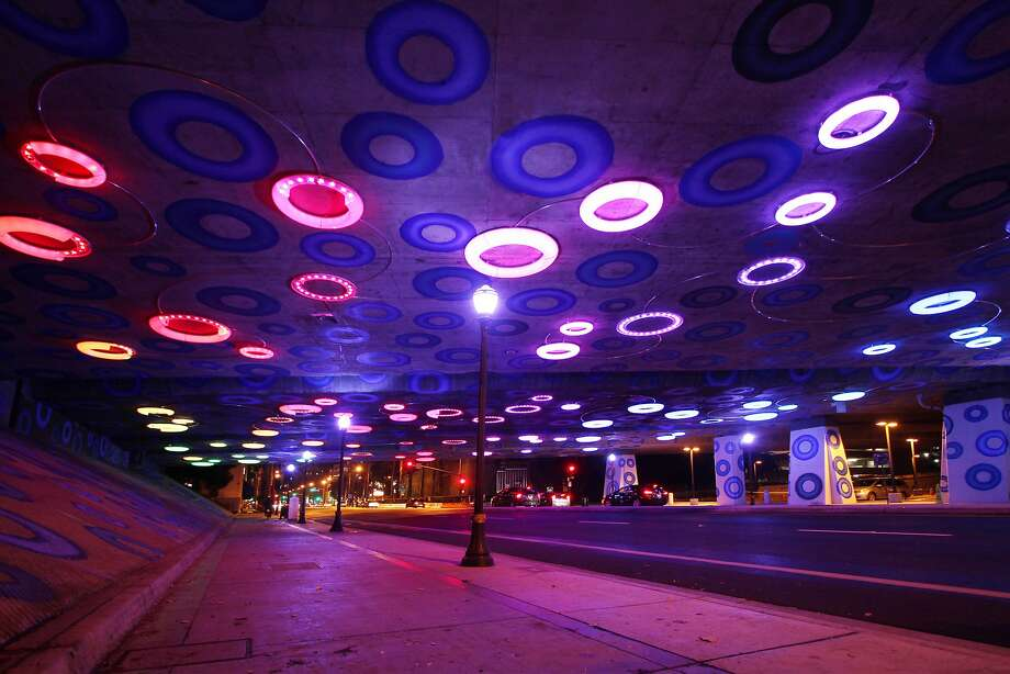 Newly unveiled light and paint art display beneath Highway 87 underpass near downtown San Jose. i Photo: Courtesy City Of San Jose