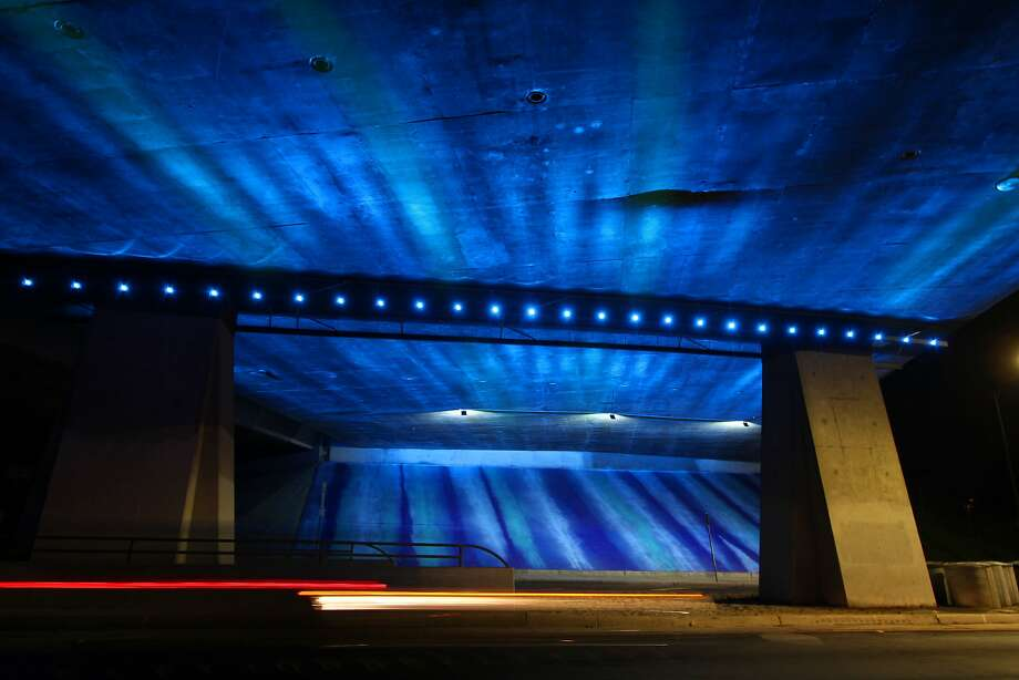 One of two Highway 87 underpasses near downtown  San Jose that has been transformed with lights and paint in an effort to bring some art luster to the city. Photo: Courtesy City Of San Jose