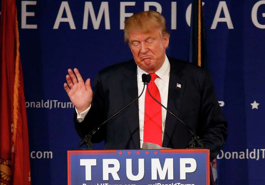 Republican presidential candidate, businessman Donald Trump, speaks during a rally coinciding with Pearl Harbor Day at Patriots Point aboard the aircraft carrier USS Yorktown in Mt. Pleasant, S.C., Monday, Dec. 7, 2015. (AP Photo/Mic Smith) Photo: Mic Smith, FRE / FR2 AP