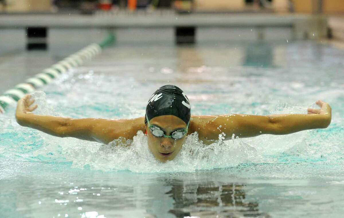 Shenendehowa swimmer Julia Samson works on her butterfly stroke during practice on Monday, Aug. 26, 2013 in Clifton Park, N.Y. (Lori Van Buren / Times Union)