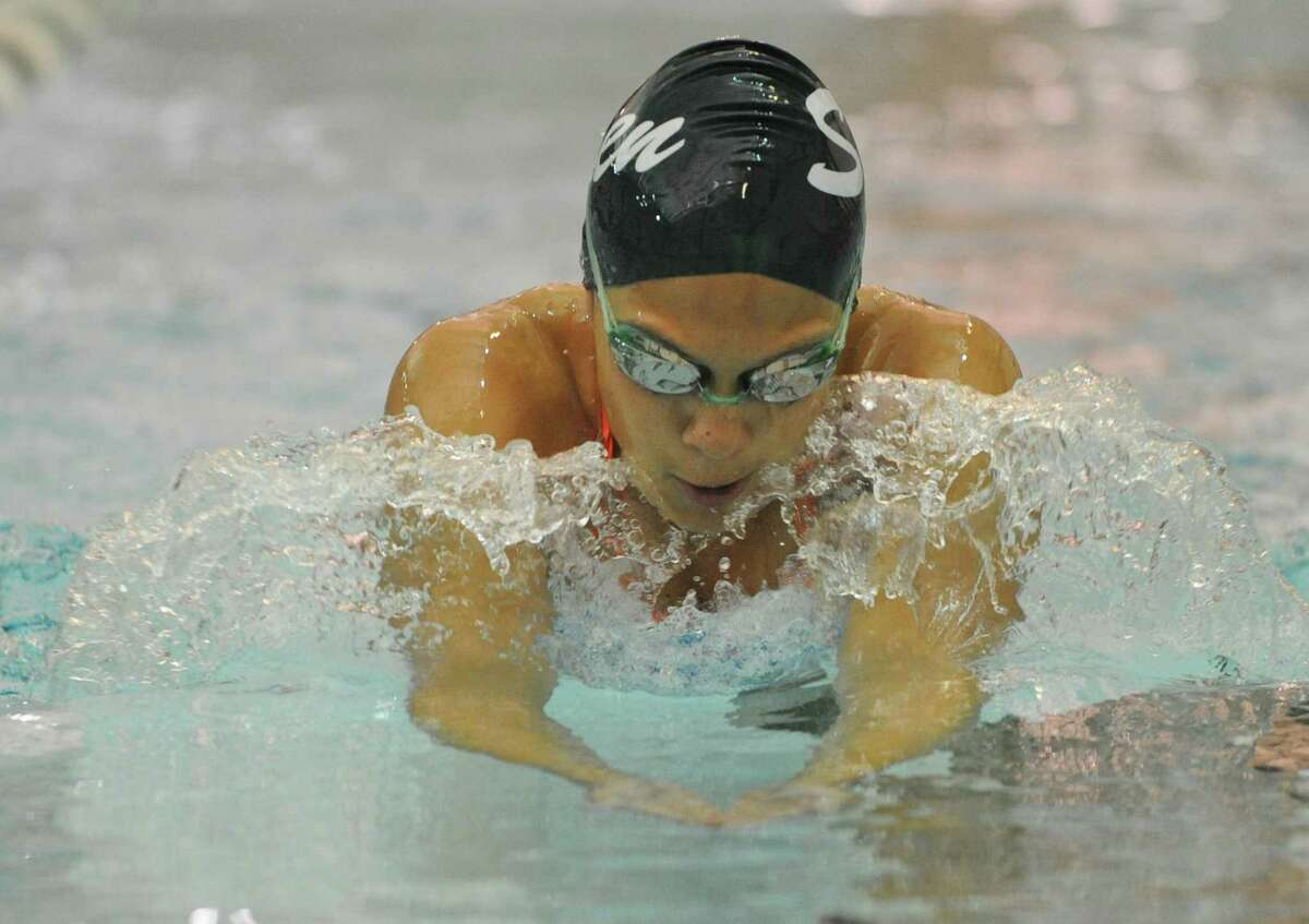 Shenendehowa swimmer Julia Samson works on her breast stroke during practice on Monday, Aug. 26, 2013 in Clifton Park, N.Y. (Lori Van Buren / Times Union)