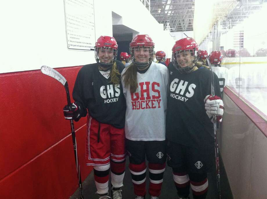 From left, Claire Eschricht, Lisa Lewis and Haley Raftery are senior captains on the Greenwich High School girls ice hockey team. Photo: David Fierro /Hearst Connecticut / David Fierro /Hearst Connecticut / Greenwich Time Contributed