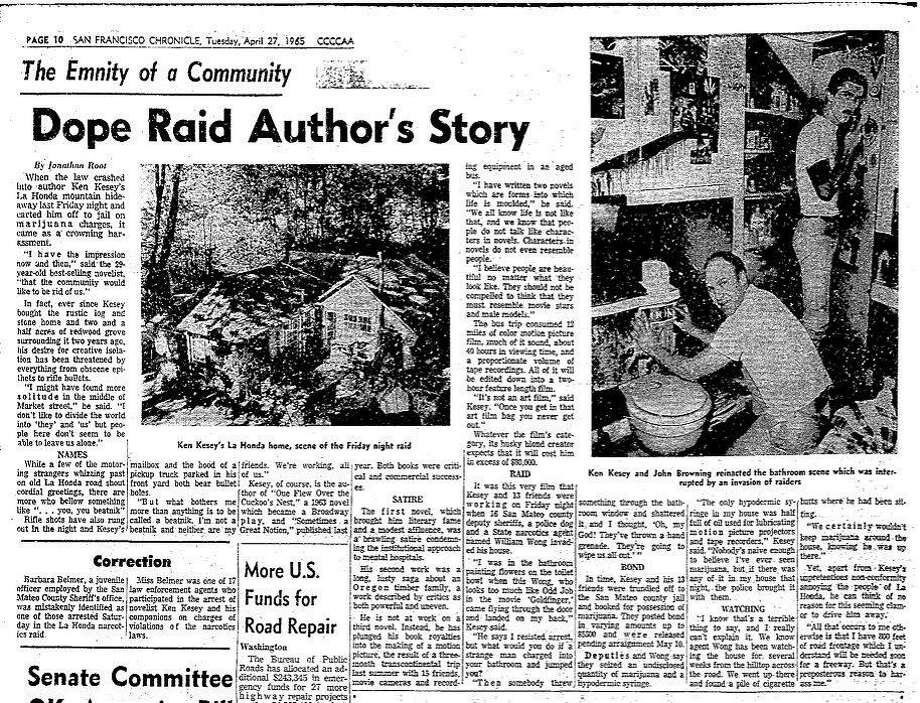 Chronicle coverage of Ken Kesey's side of the bust at his La Honda home in April 1965.