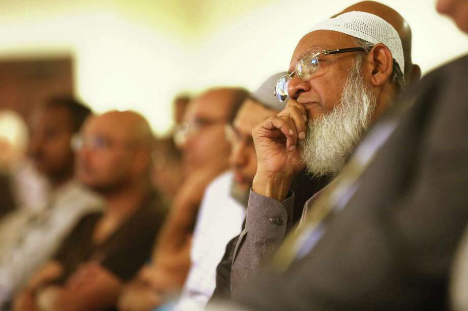 Ajmal Saeed was one of many from the Muslim community in Fort Bend County who joined county leaders at a news conference to denounce the recent violent attacks in the United States and abroad on Thursday at Maryam Islamic Center in Sugar Land. Photo: Elizabeth Conley, Staff / © 2015 Houston Chronicle
