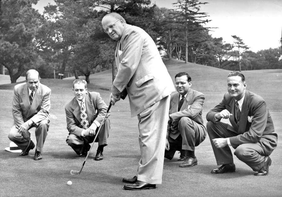 Elmer Robinson , mayor of San Francisco and other city officials check out the new nine hole golf course in Golden Gate Park
