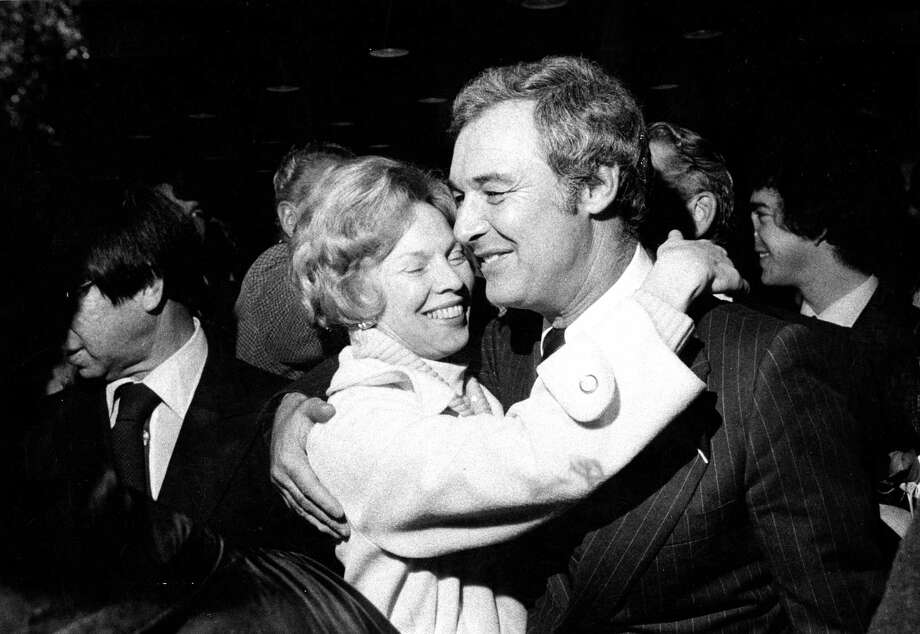 Mayor George Moscone greeted by a well-wisher at party at Civic Auditorium  Photo in January of 1976. Photo: Gary Fong / The Chronicle / ONLINE_YES