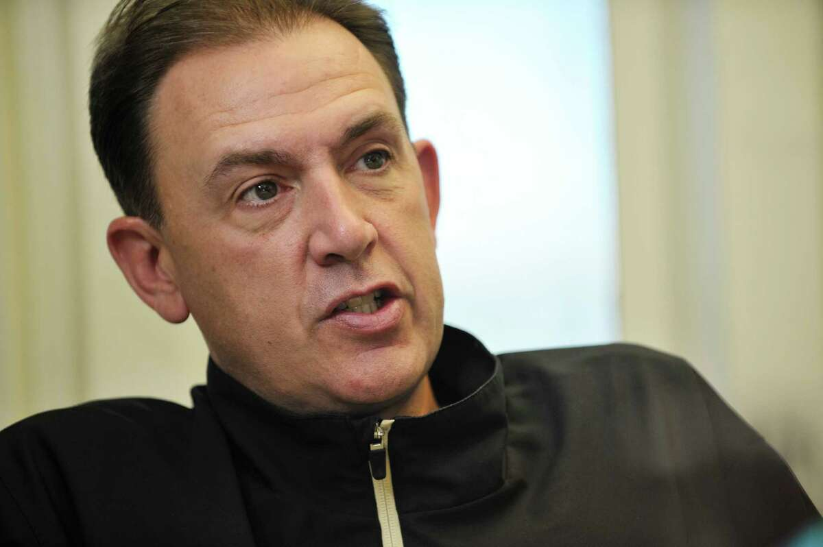 UAlbany basketball coach Will Brown talks about his team during an interview in his office on the UAlbany campus on Tuesday, Oct. 6, 2015, in Albany, N.Y. The three-time defending America East Tournament champions will begin practice on Thursday. (Paul Buckowski / Times Union)
