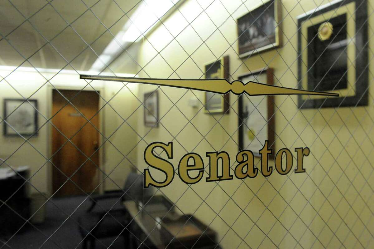 The name has been removed from former New York State Senate Majority Leader Dean Skelos's Legislative Office Building office on Friday Dec. 11, 2015 in Albany, N.Y. (Michael P. Farrell/Times Union)