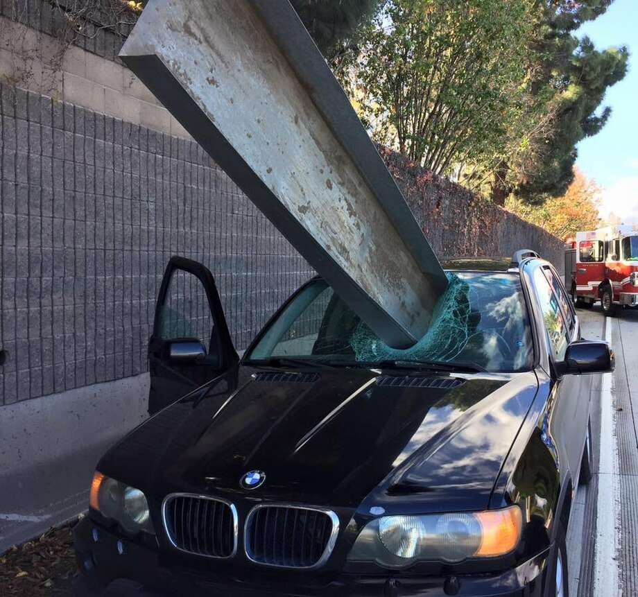 A San Jose driver narrowly escaped a potentially fatal injury on Interstate 280 Friday afternoon, impressing even San Jose firefighters, who tweeted out a photo of a long metal tray sticking out from the front of the man's car. Photo: San Jose Fire Department