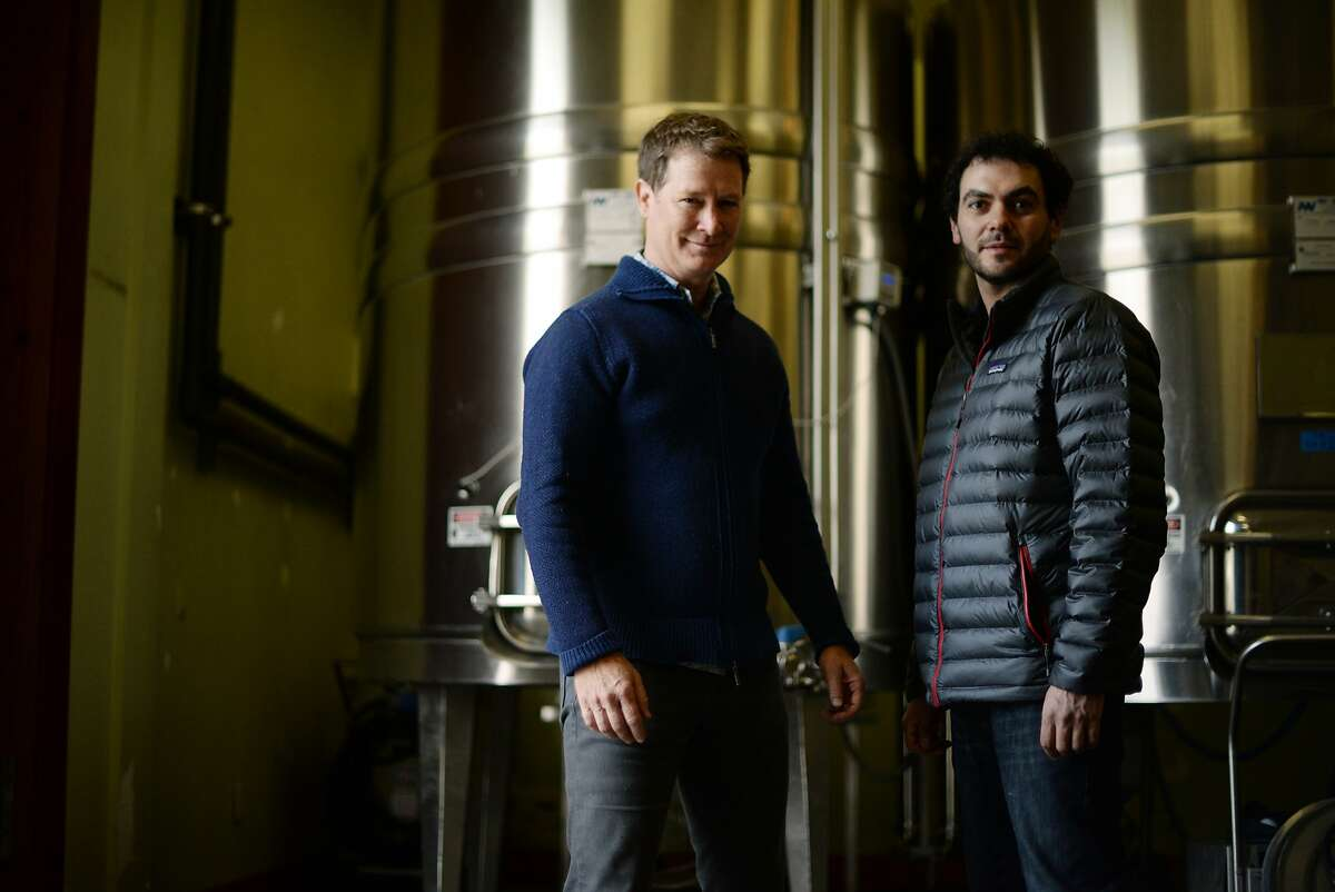 Lichen Estate owner and winemaker Douglas Stewart, left, with assistant winemaker Dan Rivin at their winery in Boonville, California. December 11, 2015.