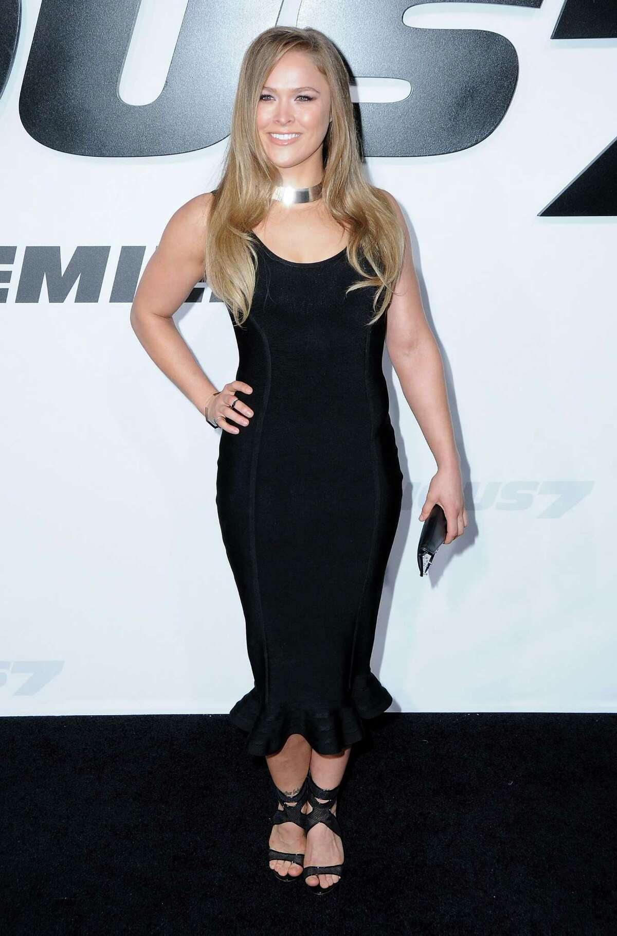 HOLLYWOOD, CA - APRIL 01: Ronda Rousey arrives at the Los Angeles Premiere 'Furious 7' at TCL Chinese Theatre IMAX on April 1, 2015 in Hollywood, California. (Photo by Barry King/FilmMagic)