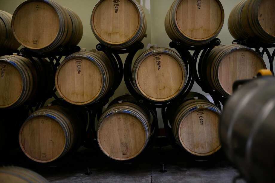 French oak barrels at Lichen Estate winery in Boonville. Photo: Erik Castro, Special To The Chronicle