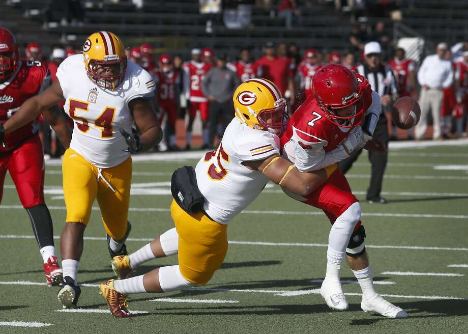 CCSF Rams quarterback Anthony Gordon fumbles the ball in the 1st quarter against the Saddleback College Gauchos in the California Community College state championship game in San Francisco, Calif. on Saturday, Dec. 12, 2015. Photo: Paul Chinn, The Chronicle