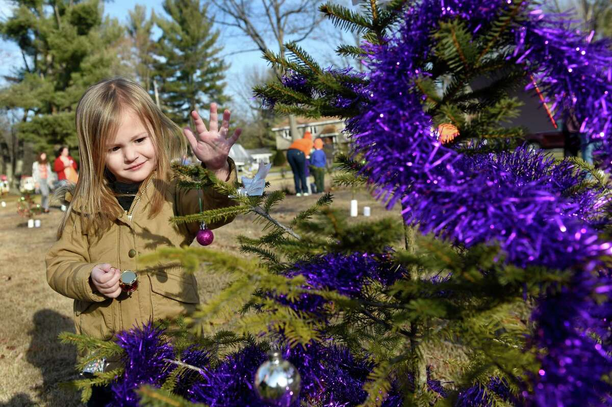 Claire DeRosa, 3, of Ballston Spa decorates a tree planted in memory of a victim of the Sandy Hook Elementary School shooting on Saturday, Dec. 12, 2015, at Sandy Hill Memorial Park in Wilton, N.Y. Moms Demand Action gathered to honor the 26 victims who died in the deadly mass shooting at the Sandy Hook Elementary School in Newtown, Conn. three years ago. (Cindy Schultz / Times Union)