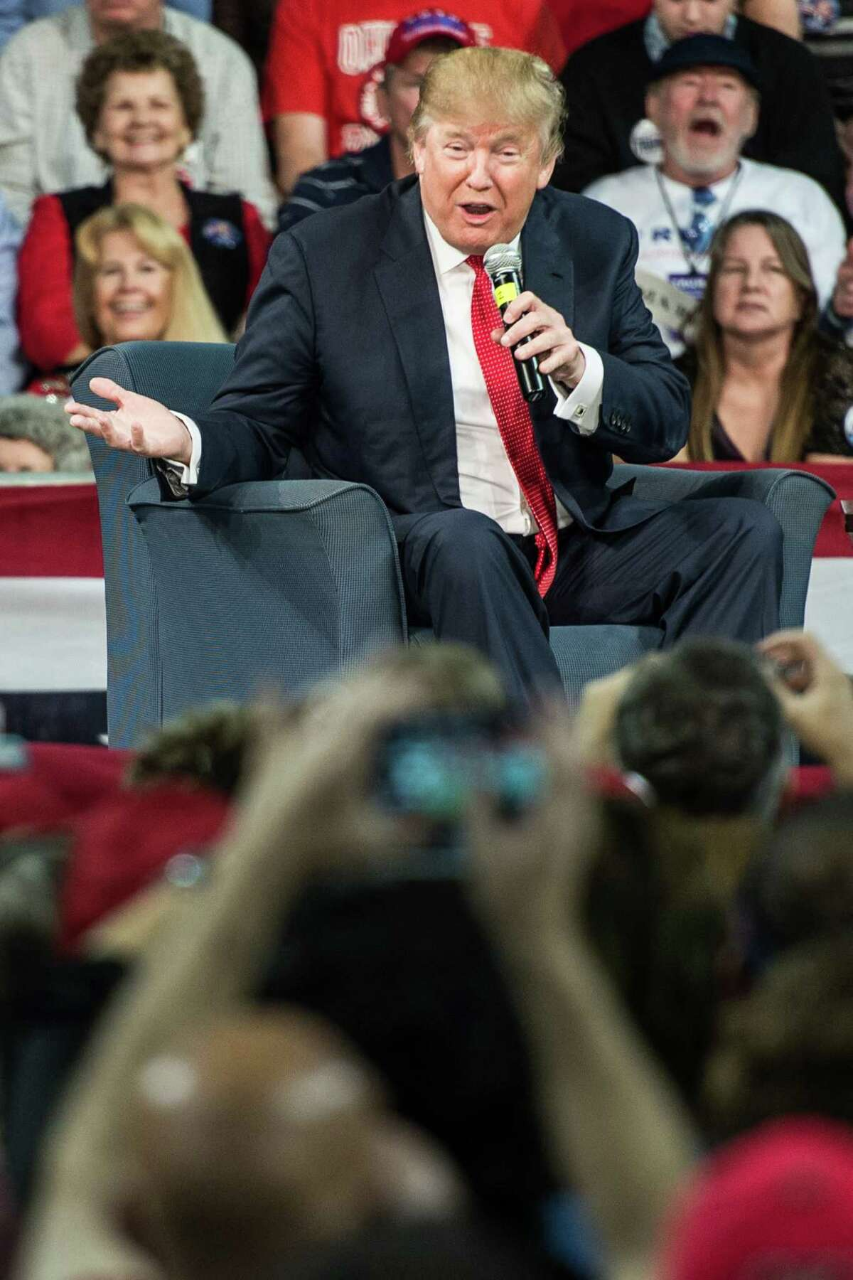 AIKEN, SC - DECEMBER 12: Republican presidential candidate Donald Trump speaks to the crowd at a town hall meeting December 12, 2015 in Aiken, South Carolina. The South Carolina Republican primary is scheduled for February 20, 2016. (Photo by Sean Rayford/Getty Images) ORG XMIT: 596207297