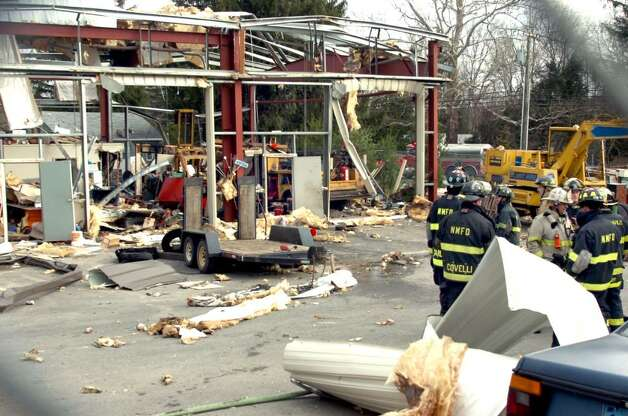 An explosion at 2 Allen Drive in Gaylordsville blew out the walls of a business Thursday morning, April 1, 2010. Photo: Michael Duffy / The News-Times