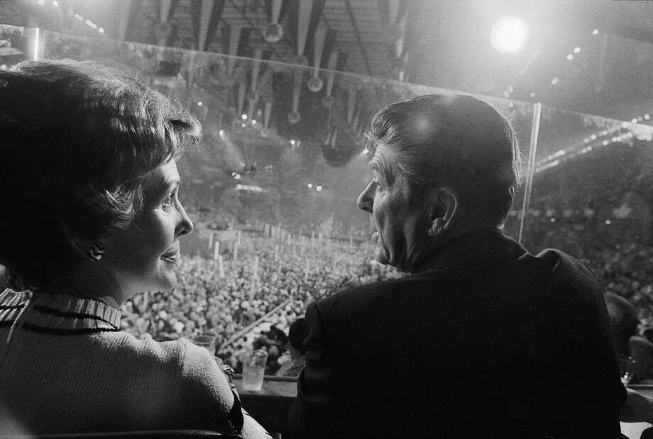 Nancy and Ronald Reagan look on as President Gerald Ford gave his acceptance speech at the Republican convention in 1976. Ford's bruising victory over Reagan at a brokered convention set the stage for his loss to Jimmy Carter. Photo: TERESA ZABALA, STF / NYTNS