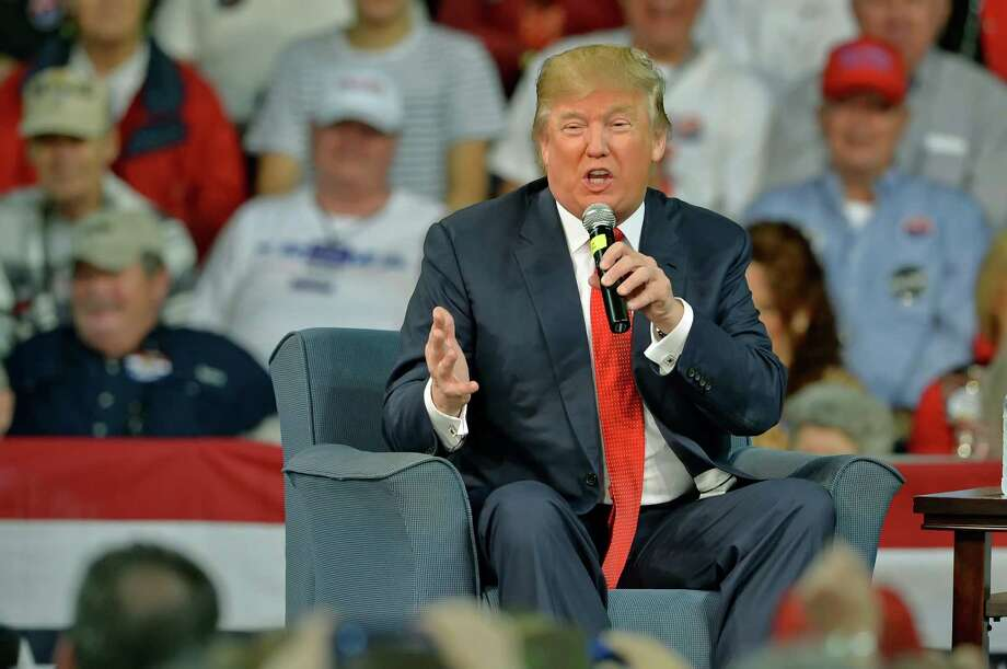 Republican presidential candidate Donald Trump speaks at a town hall meeting in the Convocation Center on the University of South Carolina Aiken campus Saturday, Dec. 12, 2015, in Aiken, S.C. (AP Photo/Richard Shiro) Photo: RICHARD SHIRO, FRE / FR159523 AP