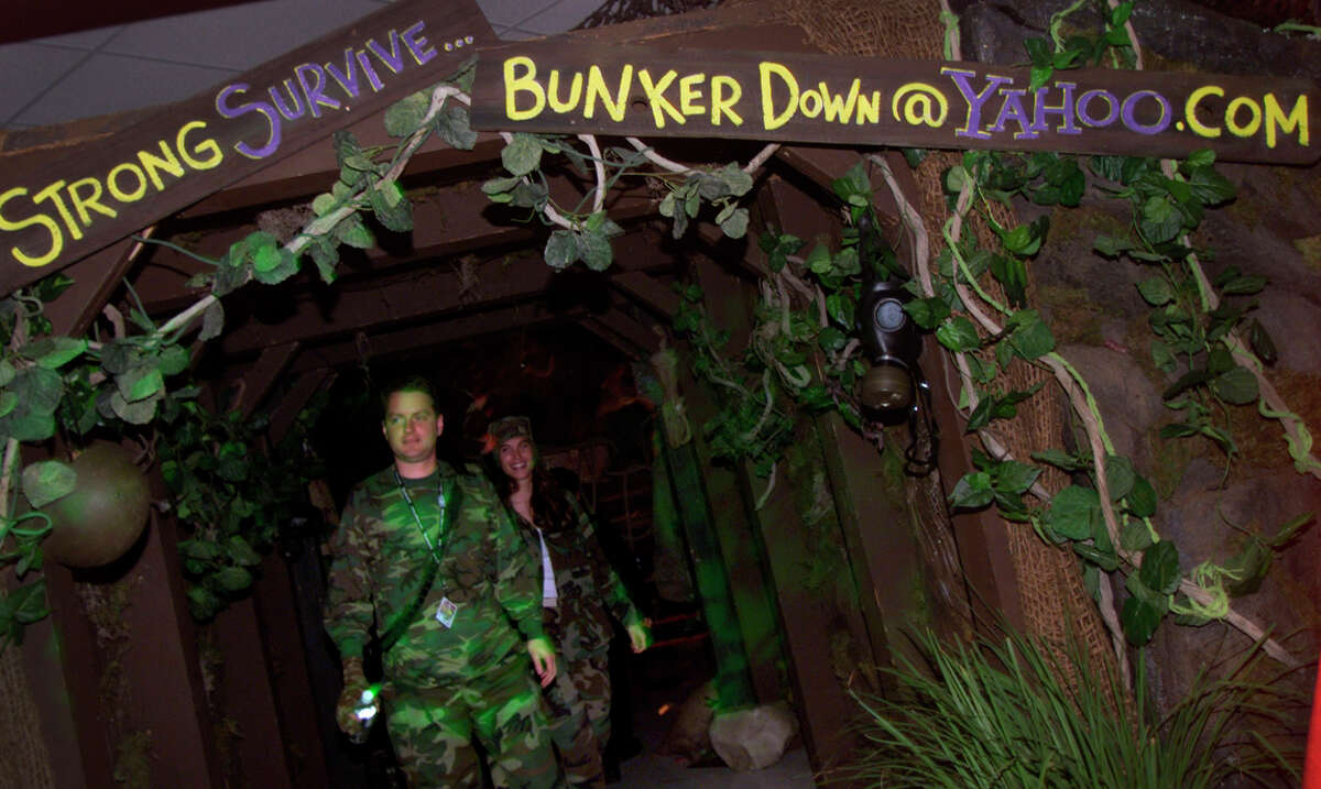 Yahoo co-founder David Filo was in camouflage as he visited an apocalyptic themed bunker at Yahoo's New Year's millennium party on Dec. 31, 1999.