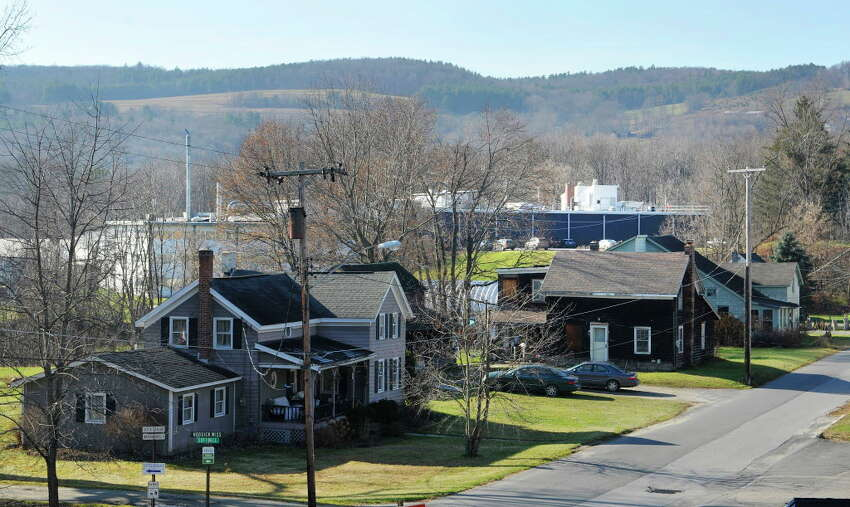 Looking down on Carey Ave. the Saint-Gobain Performance Plastics plant is seen in the background on Wednesday, Nov. 25, 2015, in Hoosick Falls, N.Y. (Paul Buckowski / Times Union)