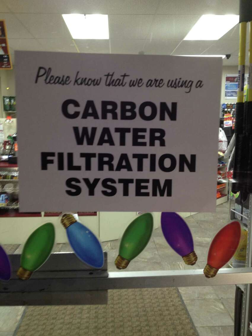 The Stewart's Shop in downtown Hoosick Falls recently posted a sign notifying customers that it has installed a water-filter system in the wake of tests showing a contaminant was found in the village's water system. (Brendan J. Lyons/Times Union)