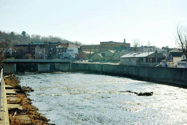 The Hoosic River flows through the village of Hoosick Falls, a small factory village where residents are struggling with water contamination. (Paul Buckowski / Times Union)