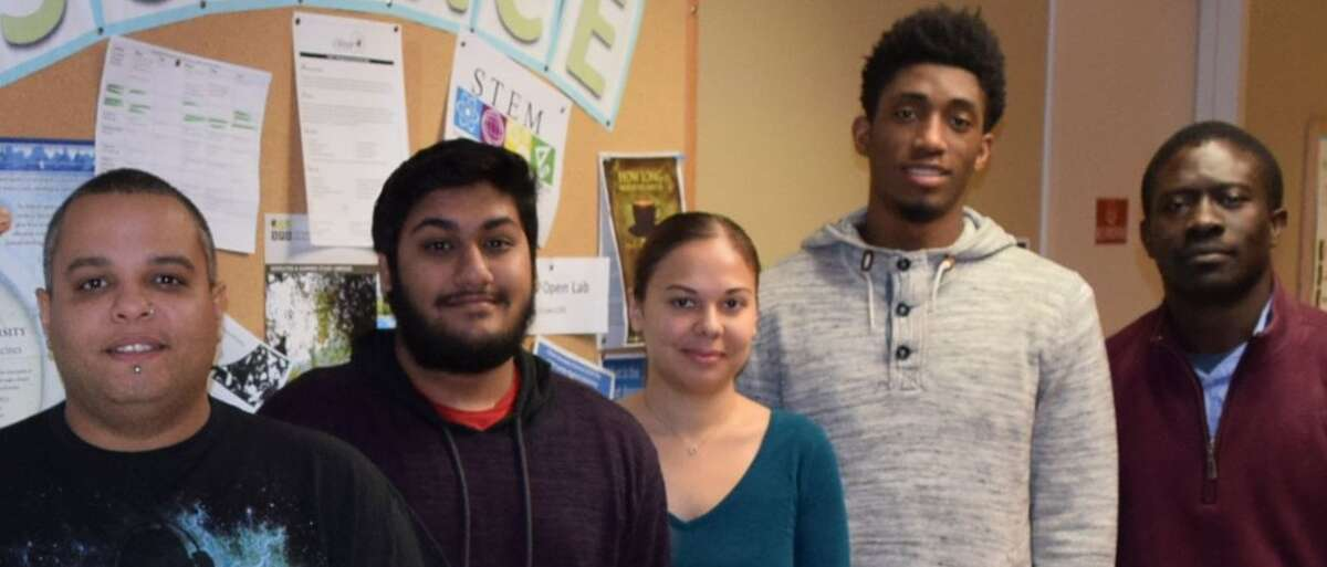 From left, Fulton Montgomery County Community College students Kinney Mathew, Deep Mohan, Merida Rodriquez and Kimane Patterson, shown with physics Instructor Gilbert Ayuk. were selected for the 2016 cohort of the New York Space Grant Community College Partnership Program summer internship fellowship. Missing from photo is student Rebekah Rorric. (Submitted photo)