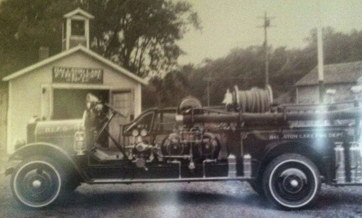 The Ballston Lake Fire Department's 1925 REO fire truck is parked at the original Ballston Lake fire station in photo from the late 1920s. (Provided photo)