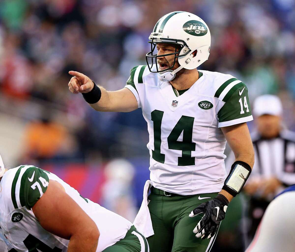 EAST RUTHERFORD, NJ - DECEMBER 06: Ryan Fitzpatrick #14 of the New York Jets calls out the play in the fourth quarter against the New York Giants on December 6, 2015 at MetLife Stadium in East Rutherford, New Jersey. (Photo by Elsa/Getty Images) ORG XMIT: 587435561