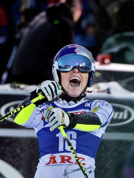 Lindsey Vonn whoops it up after winning a World Cup giant slalom at Are, Sweden. It was her fourth consecutive victory in the last two weeks. Photo: Pontus Lundahl/TT, SUB / TT NEWS AGENCY