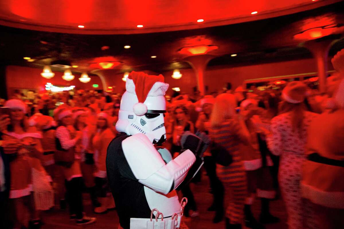 A stormtrooper takes his turn in the dance circle at Showbox.