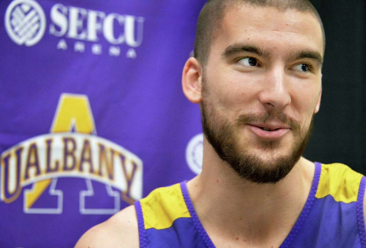UAlbany basketball player Greig Stire during an interview Thursday Dec. 10, 2015 in Albany,NY. (John Carl D'Annibale / Times Union)