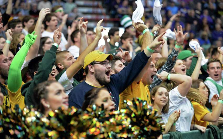 Siena fans celebrate their win over UAlbany Saturday for the Albany Cup at the Times Union Center Dec. 12, 2015 in Albany, NY. (John Carl D'Annibale / Times Union)