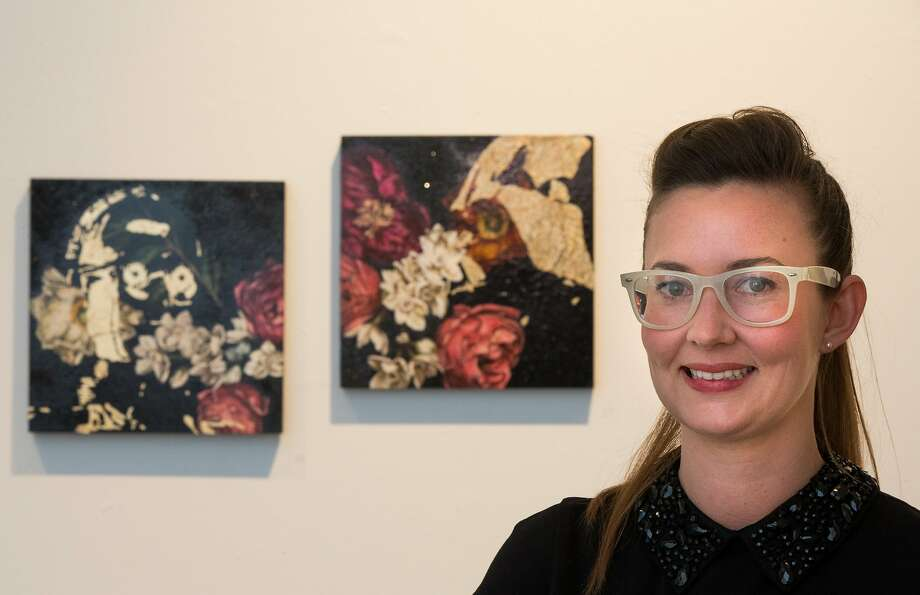 Helen Bayly stands in front of her art at White Walls gallery. Photo: Nathaniel Y. Downes, The Chronicle