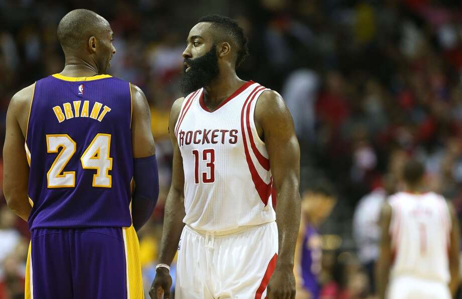 Houston Rockets guard James Harden (13) and Los Angeles Lakers forward Kobe Bryant (24) wait in the backcourt during a free throw in the first half of NBA game action between LA Lakers and Houston Rockets at Toyota Center on Saturday, Dec. 12, 2015, in Houston. ( Elizabeth Conley / Houston Chronicle ) Photo: Elizabeth Conley, Houston Chronicle