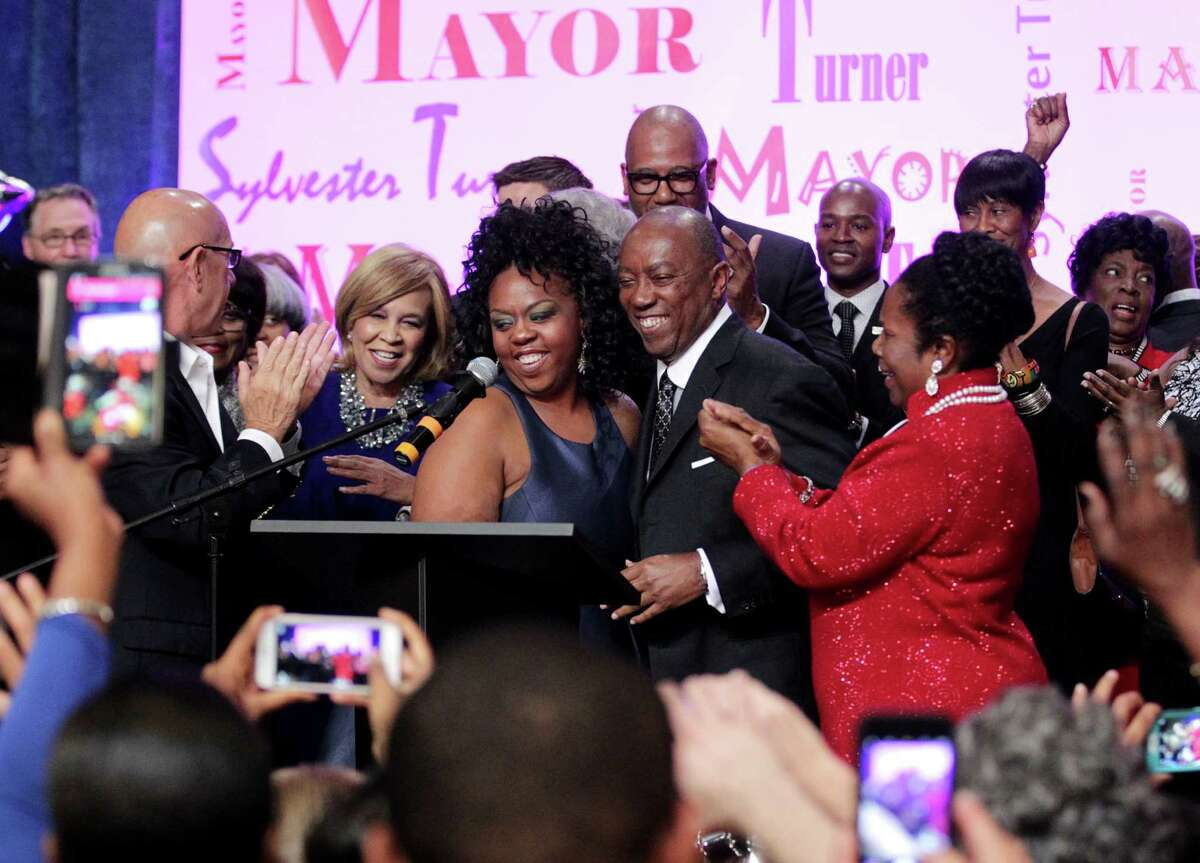 Mayor-elect Sylvester Turner celebrates his victory at his Election Night party at the George R. Brown Convention Center on Dec. 12.
