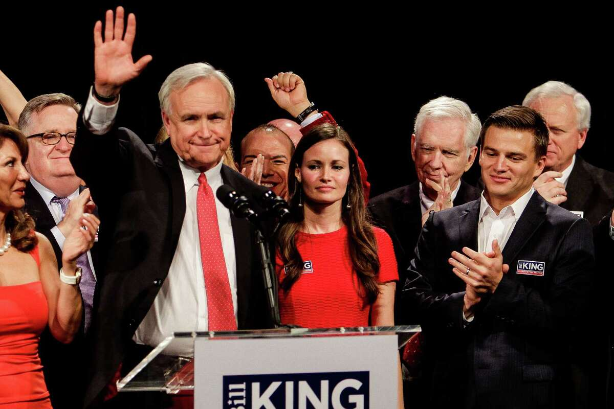 Mayoral candidate Bill King gives a concession speech to supporters at his election party at the Royal Sonesta Hotel Saturday, Dec. 12, 2015, in Houston.