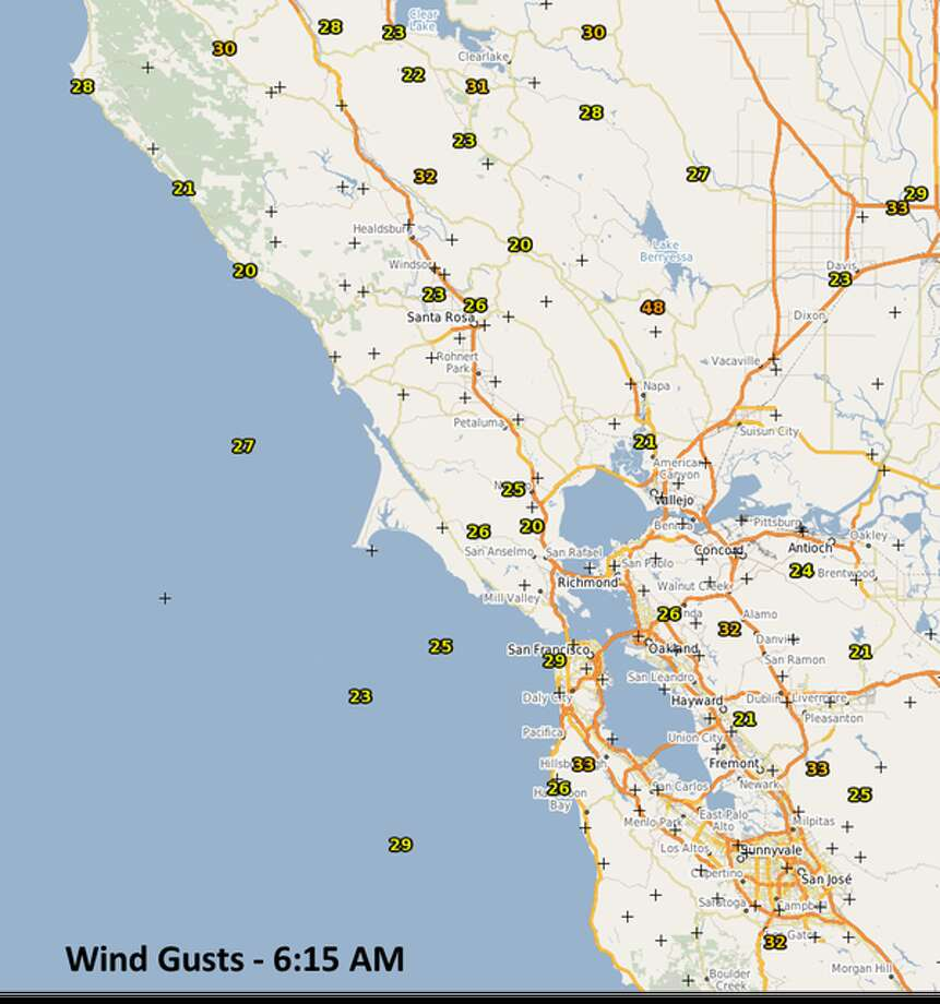 A map shows wind speeds around the Bay Area on the morning of Sunday, Dec. 13, 2015. Photo: National Weather Service