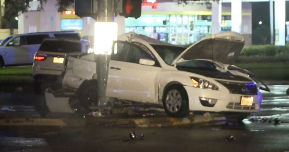 A drunk-driving crash left three people hurt in southwest Houston Saturday December 13, 2015. Photo: Metro Video