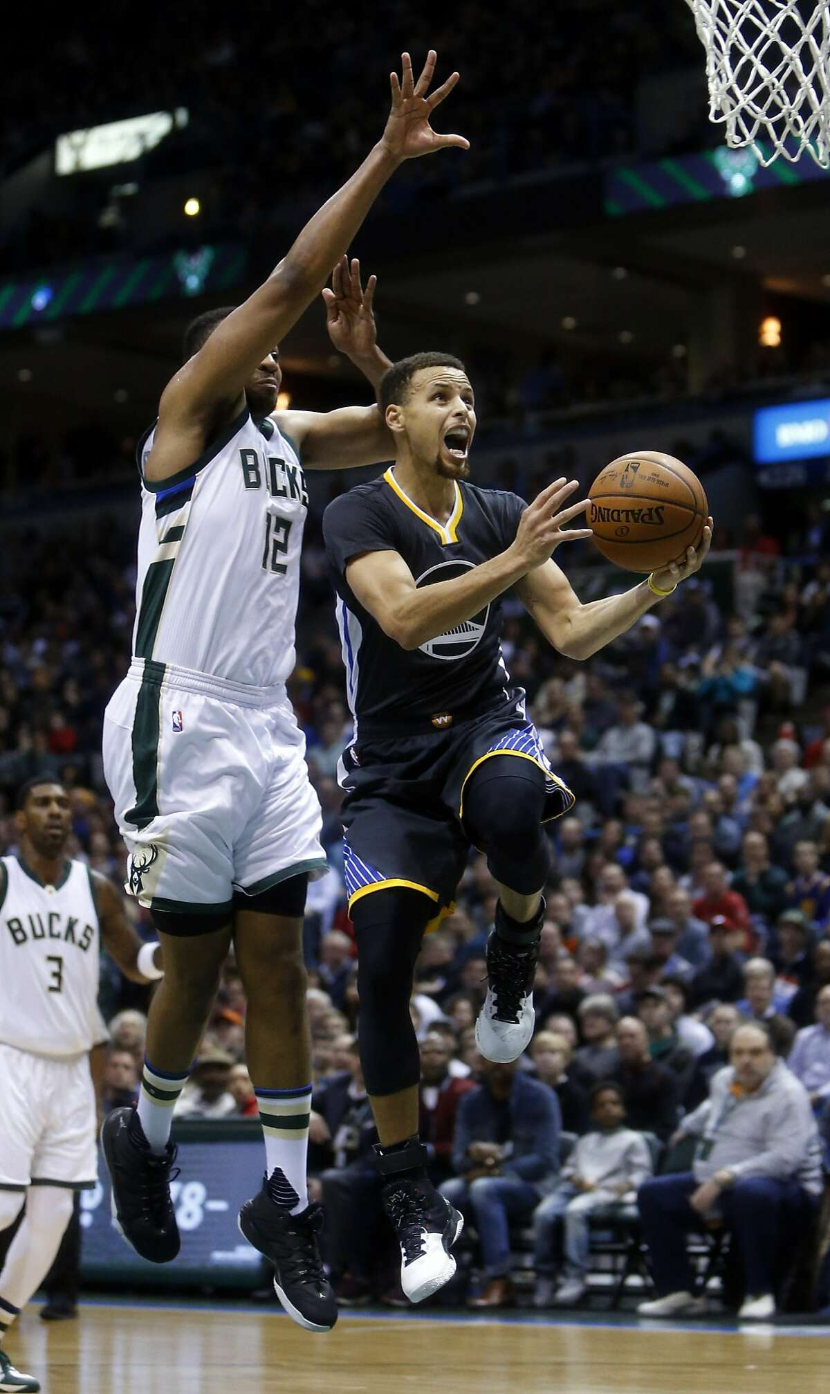 Golden State Warriors' Stephen Curry during Milwaukee's Bucks' 108-95 win in NBA game at BMO Harris Bradley Center in Milwaukee, WI on Saturday, December 12, 2015.