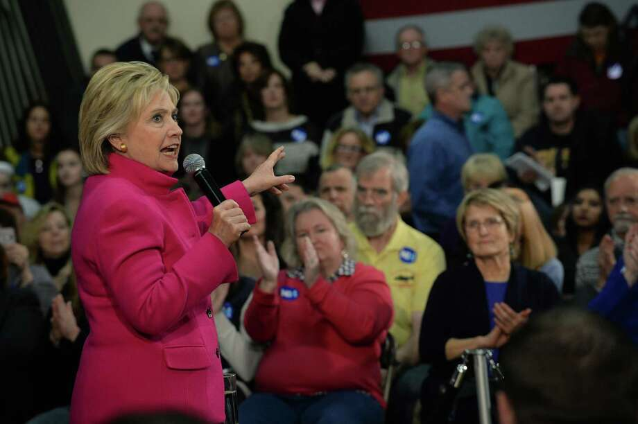 Democratic president candidate Hillary Clinton speaks at a town hall event in Salem, New Hampshire. Clinton calls for private employers to receive a tax advantage for including employees in profit-sharing plans. Photo: Darren McCollester /Getty Images / 2015 Getty Images