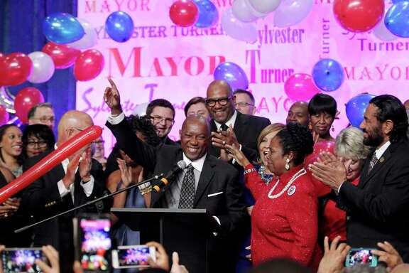 Mayor-elect Sylvester Turner celebrates his victory at his election night watch party Saturday. Houston has elected longtime Democratic lawmaker Turner as mayor of the nation's fourth-largest city in a tight race against Republican businessman Bill King. (Jon Shapley/Houston Chronicle)
