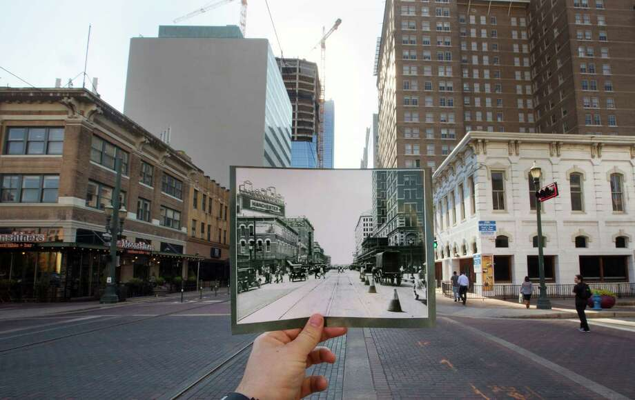 A 1920 photo looking toward Texas Avenue along Main Street shows Old Spanish Trail, as it was when formed a century ago as one of the south's first paved intercity highways, compared to now.  Photo: Cody Duty, Staff / © 2015 Houston Chronicle