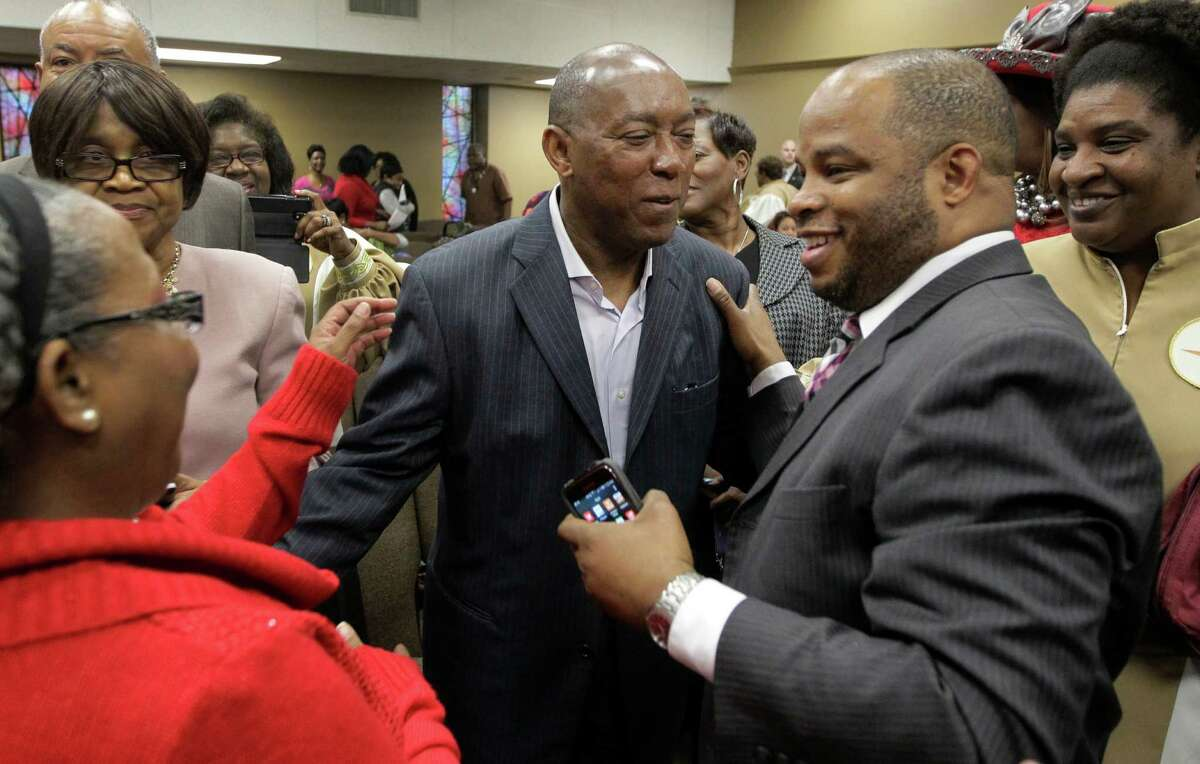 City of Houston mayor-elect Sylvester Turner said he hopes to continue working to eliminate discrimination during his term as mayor. is greeted by well-wishers after church service at The Church Without Walls, 5314 Bingle Rd., Sunday, Dec. 13, 2015, in Houston. ( Melissa Phillip / Houston Chronicle )