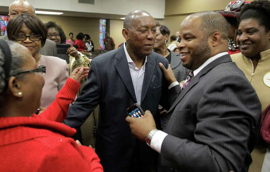 City of Houston mayor-elect Sylvester Turner said he hopes to continue working to eliminate discrimination during his term as mayor.  is greeted by well-wishers after church service at The Church Without Walls, 5314 Bingle Rd., Sunday, Dec. 13, 2015, in Houston. ( Melissa Phillip  / Houston Chronicle ) Photo: Melissa Phillip, Staff / © 2015 Houston Chronicle
