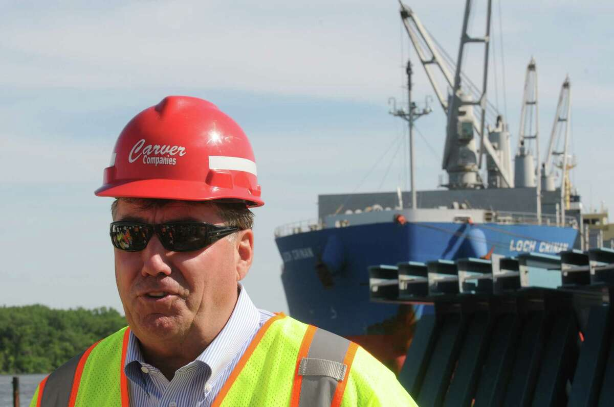 Carver Laraway owner of the Port of Coeymans talks about the girders being assembled for new Tappan Zee bridge at the port on Wednesday June 3, 2015 in Coeymans , N.Y. (Michael P. Farrell/Times Union)